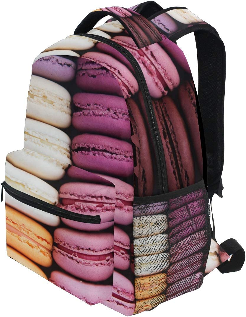 Colorful french cookies pink macarons valentine Diaper Bag Laptop Backpacks Notebook Rucksack Travel Hiking Daypack for Women Men