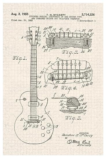 GIBSON LES PAUL E-Gitarre 1955 Offizielles Patent Diagramm Poster 30 ...