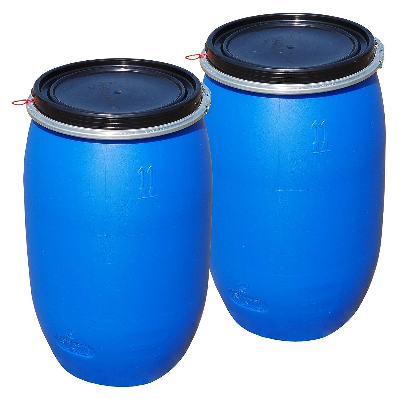 Lot de 2 Fû ts alimentaire 120 L, ouverture totale, baril polyé thylè ne bleu (2x22120) baril polyéthylène bleu (2x22120) Wilai