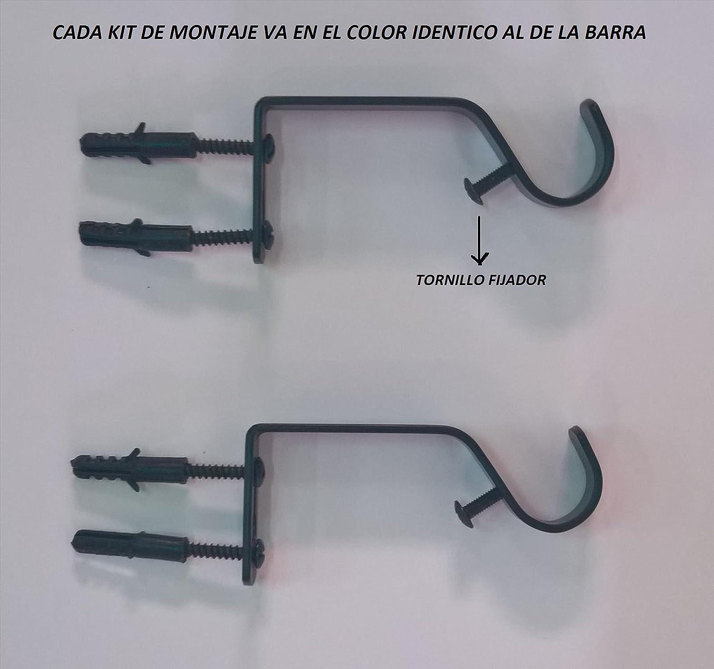 T20172 Negro Envejecido con Cabezales Decorativos y Kit de f/ácil instalaci/ón incluidos ForenTex Barra de 19-16 mm de Grosor Extensible 160-310 cm Barra de Cortina,