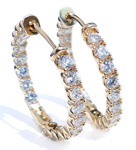 50d222dfd NEW IMPROVED SUMMER 2019 Ah! Jewellery® Crystals From Swarovski 25mm Hoop  Earrings, Gold Filled. Guarantee 3µ / 10 years. Stamped GL.: Amazon.co.uk:  ...