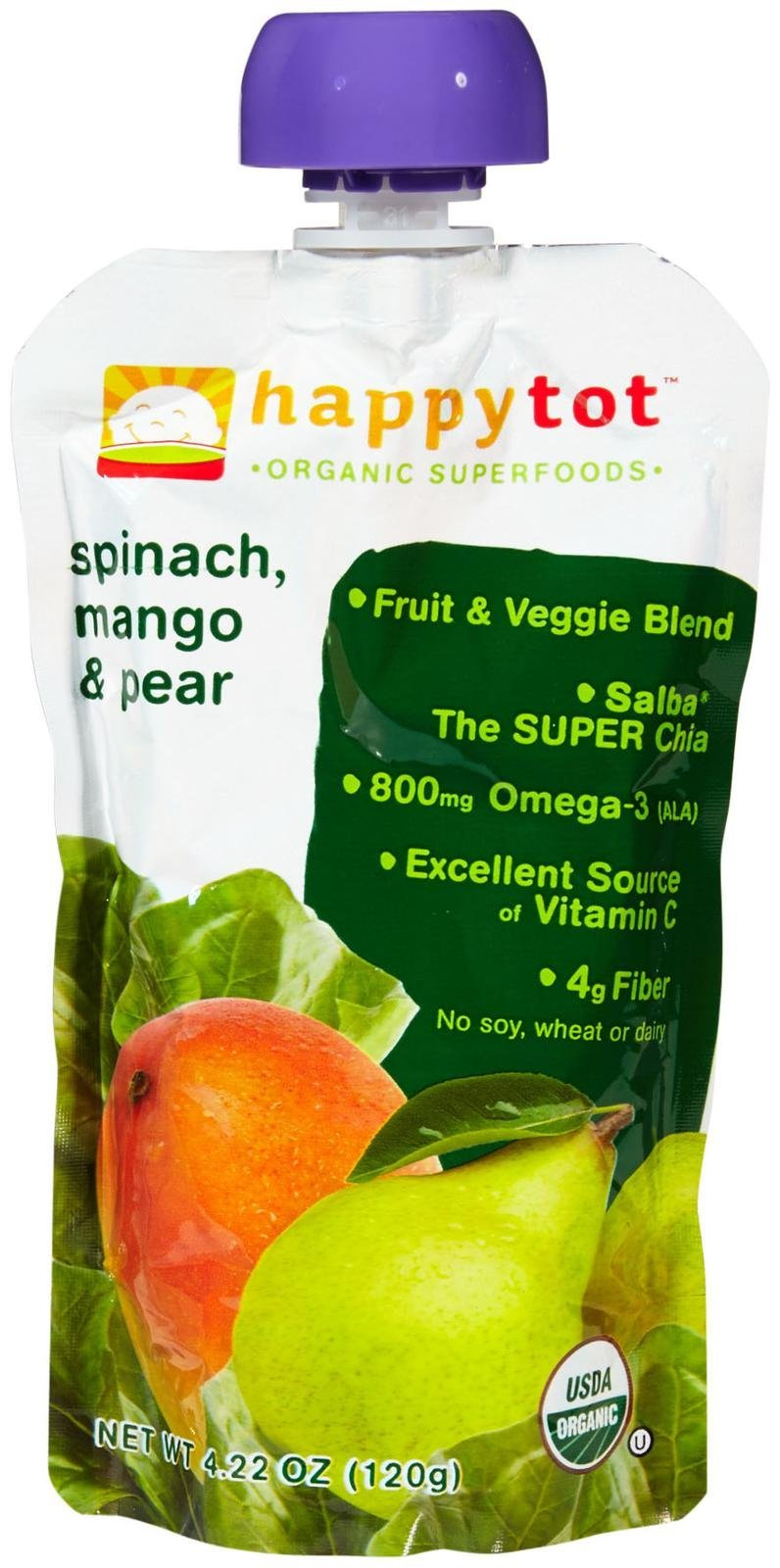 Happy Family happy tot Purees - Spinach Mango and Pear - 4.22 oz - 8 pack