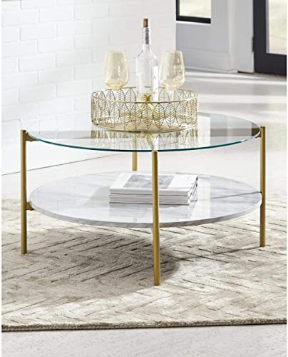 Signature Design by Ashley – Wynora Round Glass Top Coffee Table w Fixed Shelf, White Faux Marble Gold