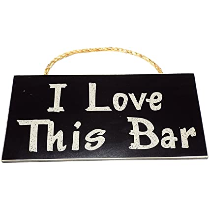 amazon com i love this bar vintage wood sign for wall decor