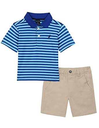 c829ad251 Nautica Baby Boys' Two Piece Set with Synthetic Polo Shirt and Short, Aqua,