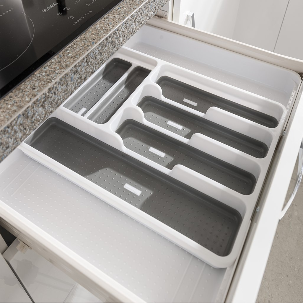 White Grey 6-8 Sections /8/vano Porta Addis espandibile Vassoio portaposate utensile con 6/