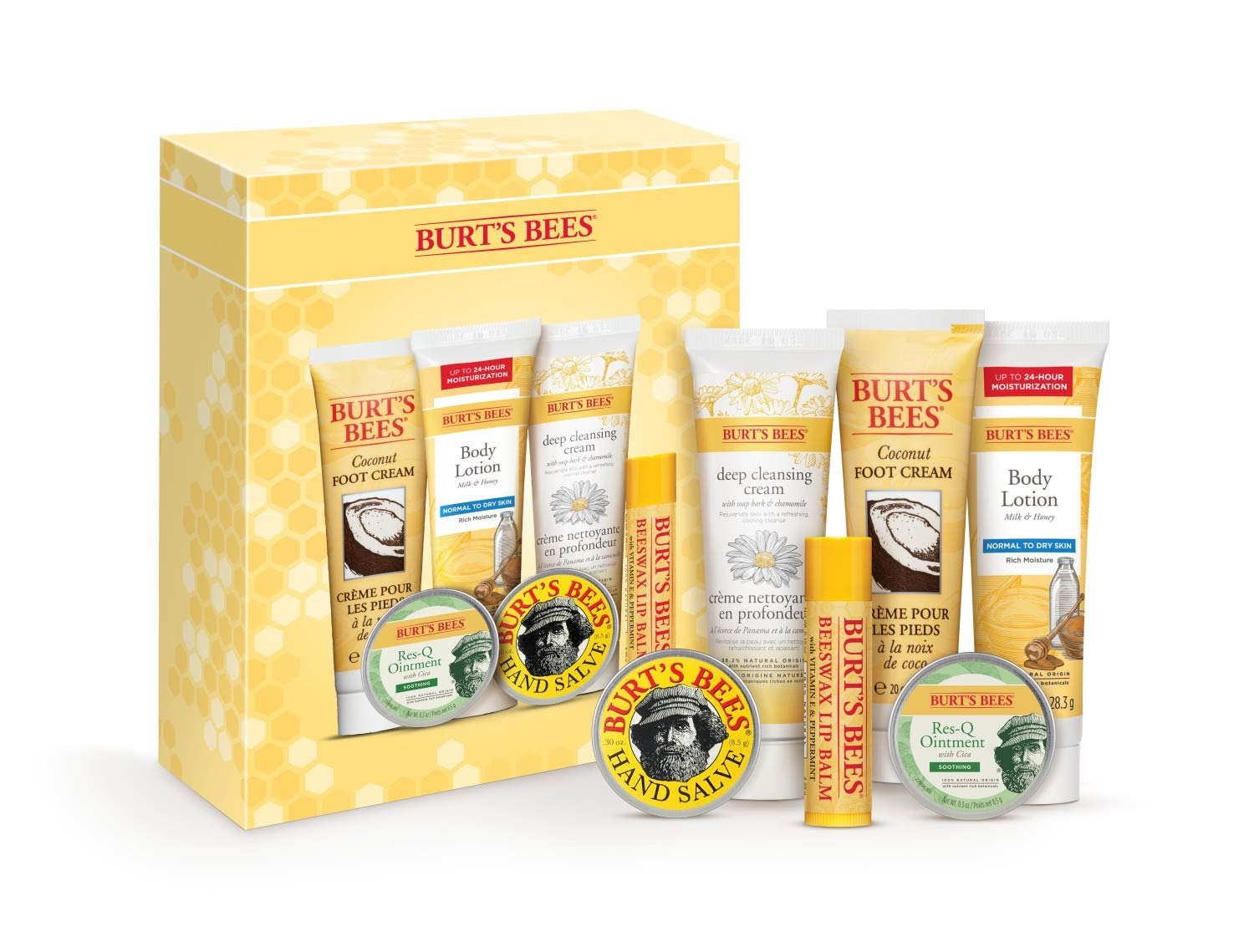 Burt's Bees Timeless Minis Kit With Coconut Foot Cream, Milk & Honey Body Lotion, Soap Bark & Chamomile Deep Cleansing Cream, Res-q Ointment, Hand Salve and Beeswax Lip Balm
