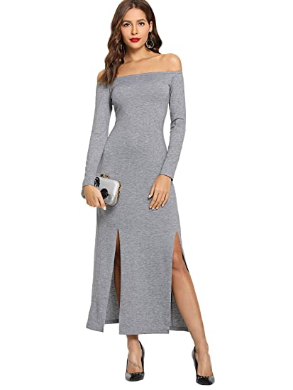 146d2a5222 Amazon.com: SheIn Women's Elegant Off Shoulder Long Sleeve Split Hem Maxi  Dress: Clothing