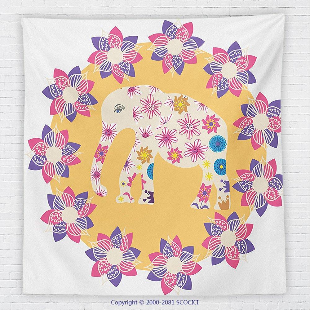 59 x 59 Inches Cartoon Thai Baby Elephant Kids Decor Fleece Throw Blanket Colorful Natural Wildlife Animal Prints Blanket