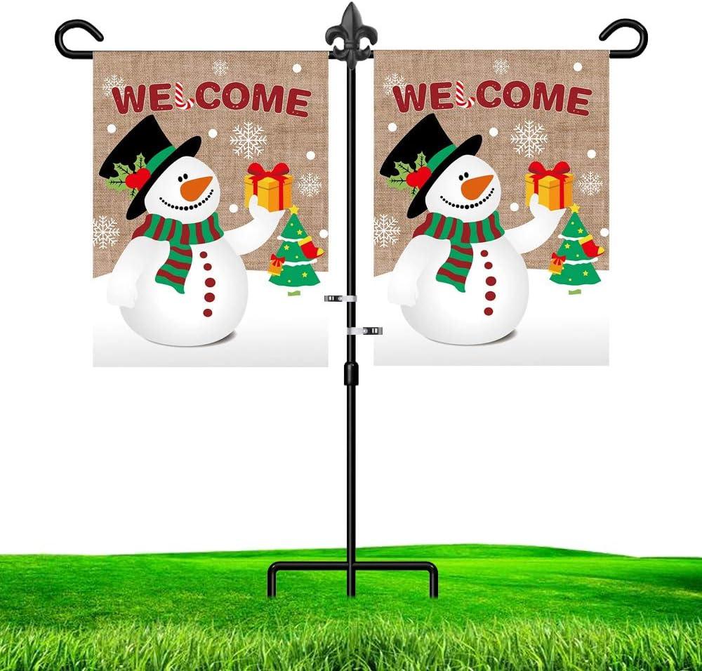 LAIRIES Garden Flag Stand Holder Pole Fleur De Lis with Yard Flag Stopper and Anti-Wind Clip 37''H x 30''W Black Wrought Iron Yard Garden Season Flag Pole Outdoor