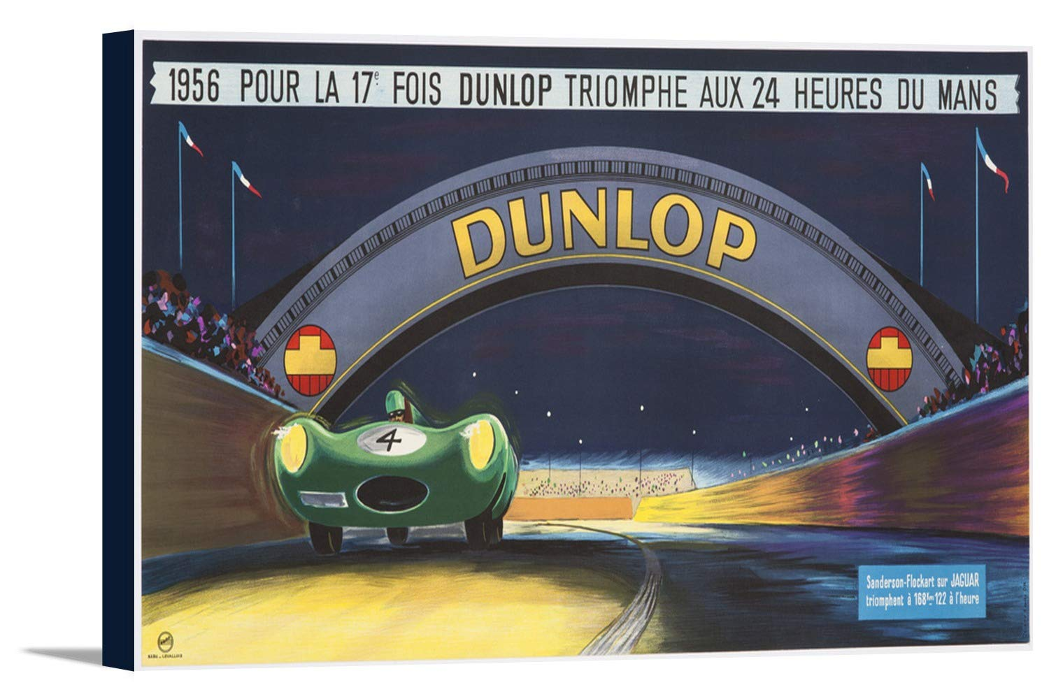 Dunlop – 24 HEURES DE MANSヴィンテージポスター(アーティスト: Delarue nouvelliere )フランスC。1956 36 x 18 1/2 Gallery Canvas LANT-3P-SC-58955-24x36 36 x 18 1/2 Gallery Canvas  B0184AVDCQ