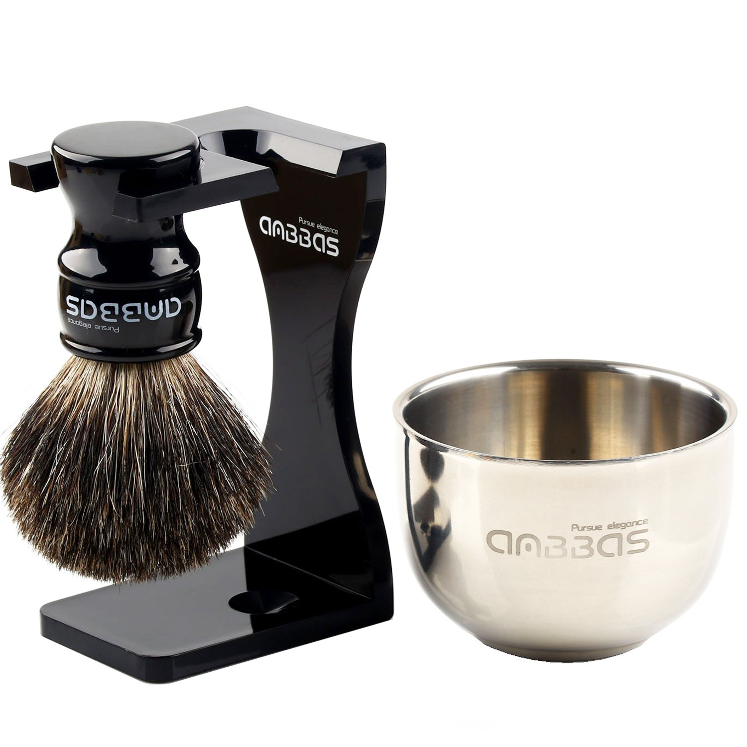 4in1 Shaving Set, Black Pure Badger Hair Shaving Brush with Resin Handle Medium Size and Black Acrylic Broken-resistant Shaving Stand,Stainless Steel Shaving Bowl Dia 3.2