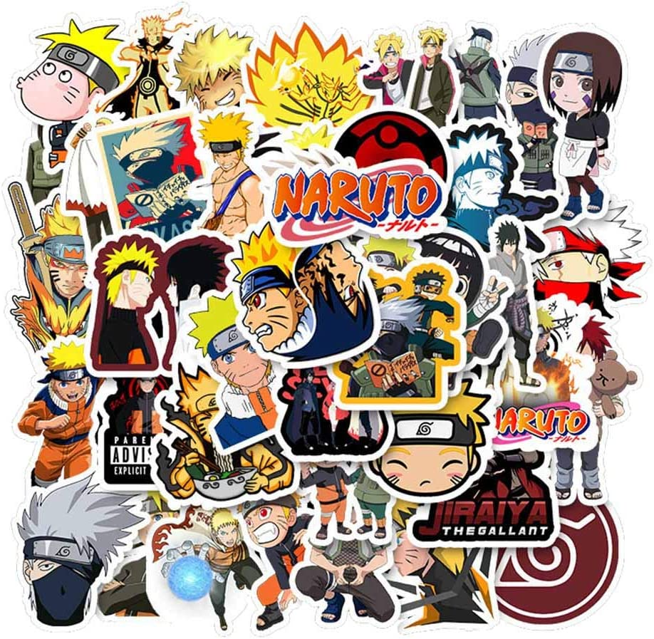 FRIUSATE Naruto Stickers[50pcs] Anime Waterproof for Decal, Laptop Water Bottle Car Cup Computer Guitar Skateboard Luggage Bike Bumper Decor
