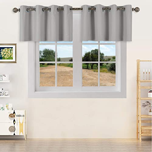 YGO Light Grey Blackout Curtain Valances,Thermal Insulated Short Grommet Curtain Panels,Small Half Window Valances for Kitchen 52 X 18 Inches,2 Pieces