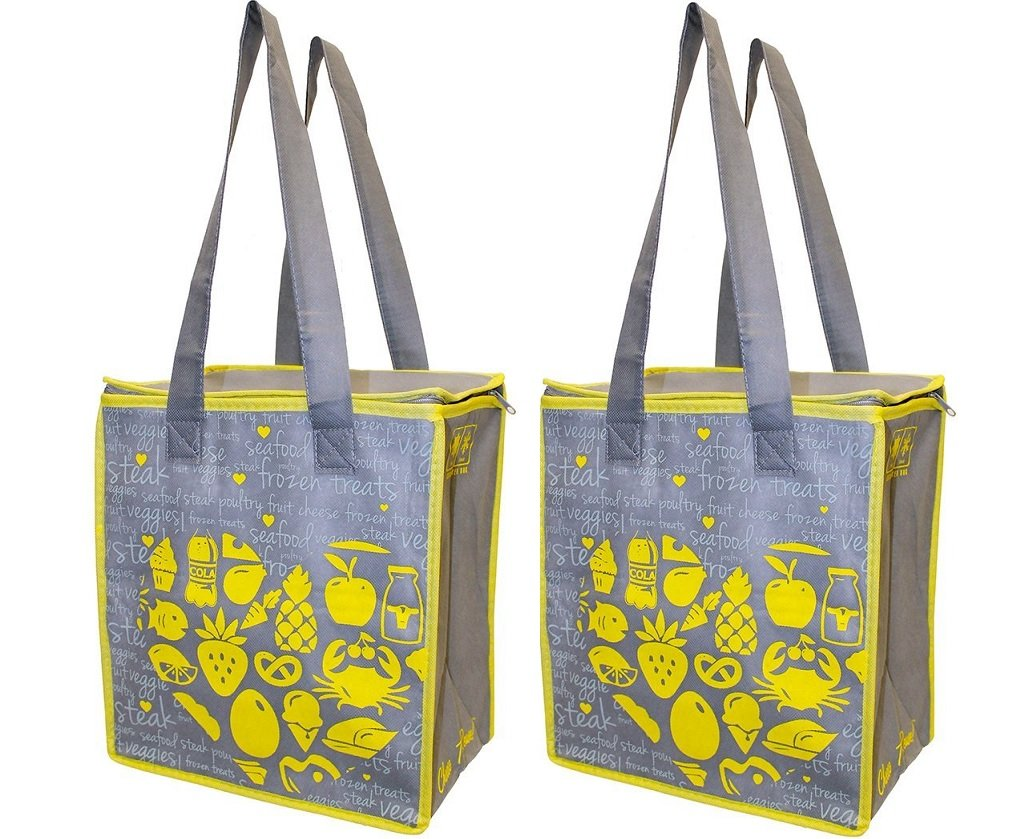 Earthwise Large Insulated Reusable Grocery Bag Shopping Hot Cold Thermal Cooler w/zipper closure (Set of 2)