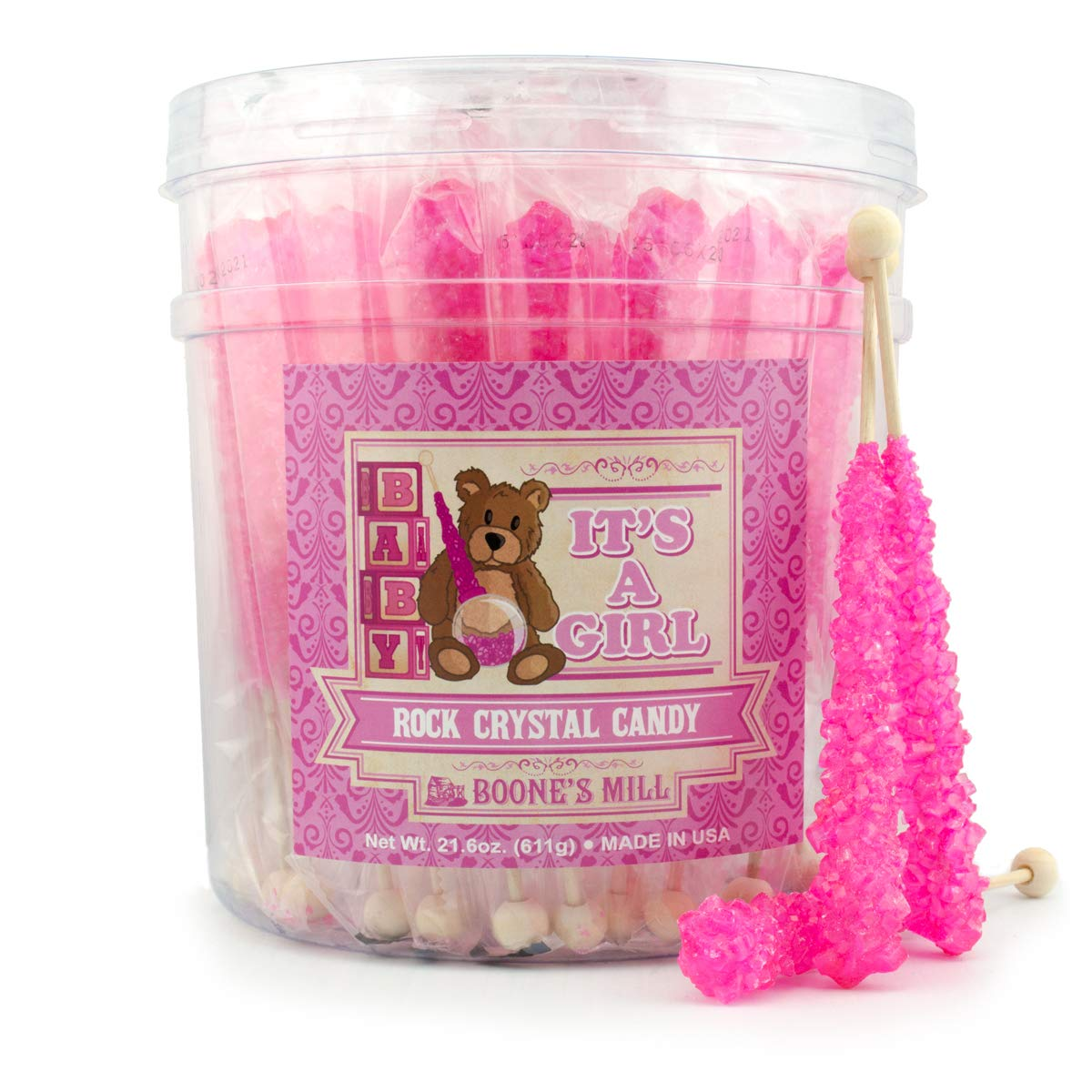 Gender Reveal Rock Crystal Candy Sticks | It's A Girl | 36 Count Pink Cotton Candy | Boone's Mill