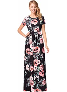 25ea2cb394e6 Ruiyige Women Elegant Floral Print Summer Beach Long Maxi Dresses with  Pockets