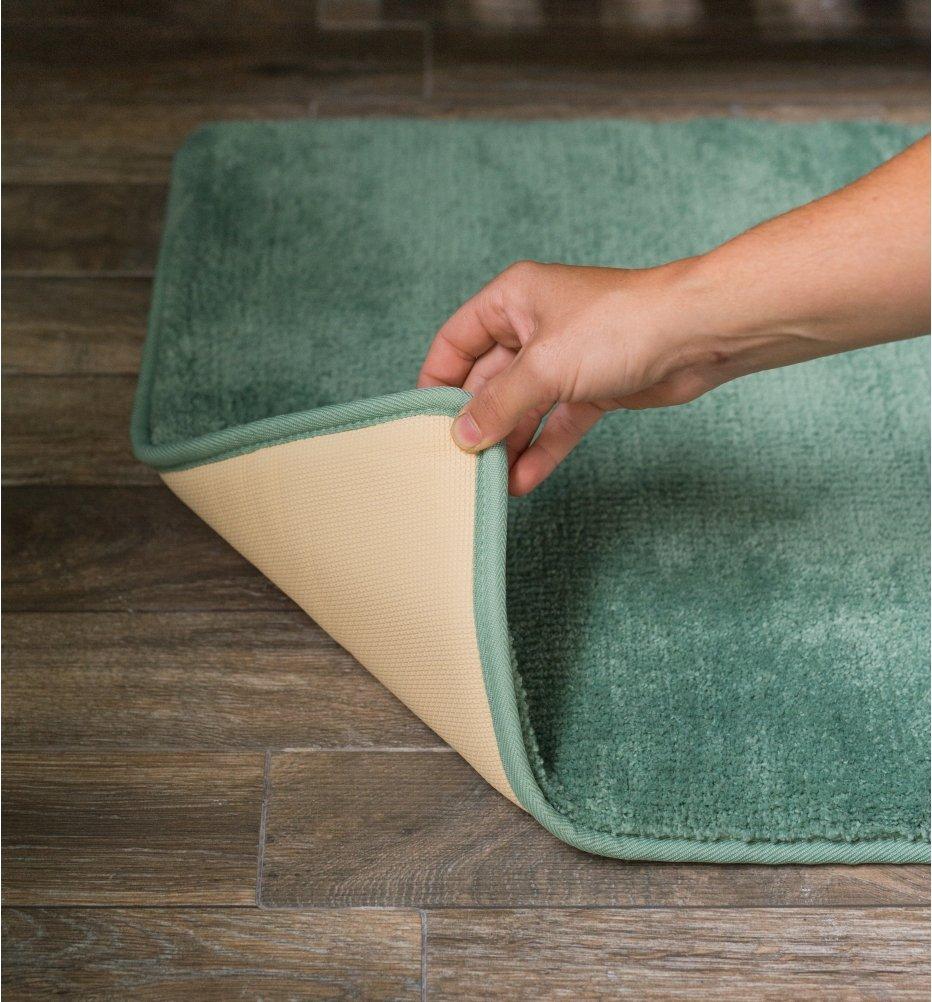 Durable No-Slip Memory Foam Bath Mat Rug 20 x 36 Inch American Pillowcase Soft Aqua