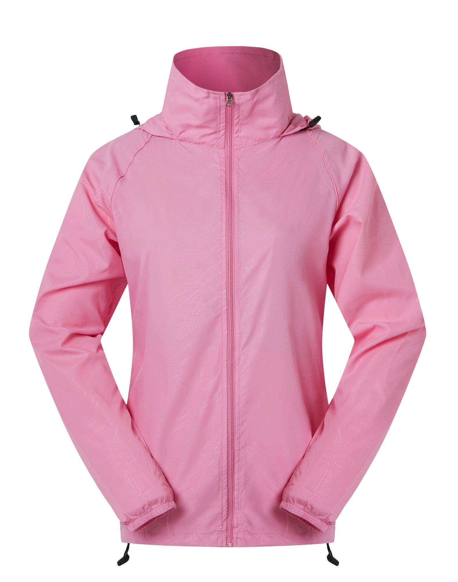 Cheering Spmor Women's Lightweight Jackets Waterproof Windbreaker Jacket UV Protect Running Coat S Hot Pink