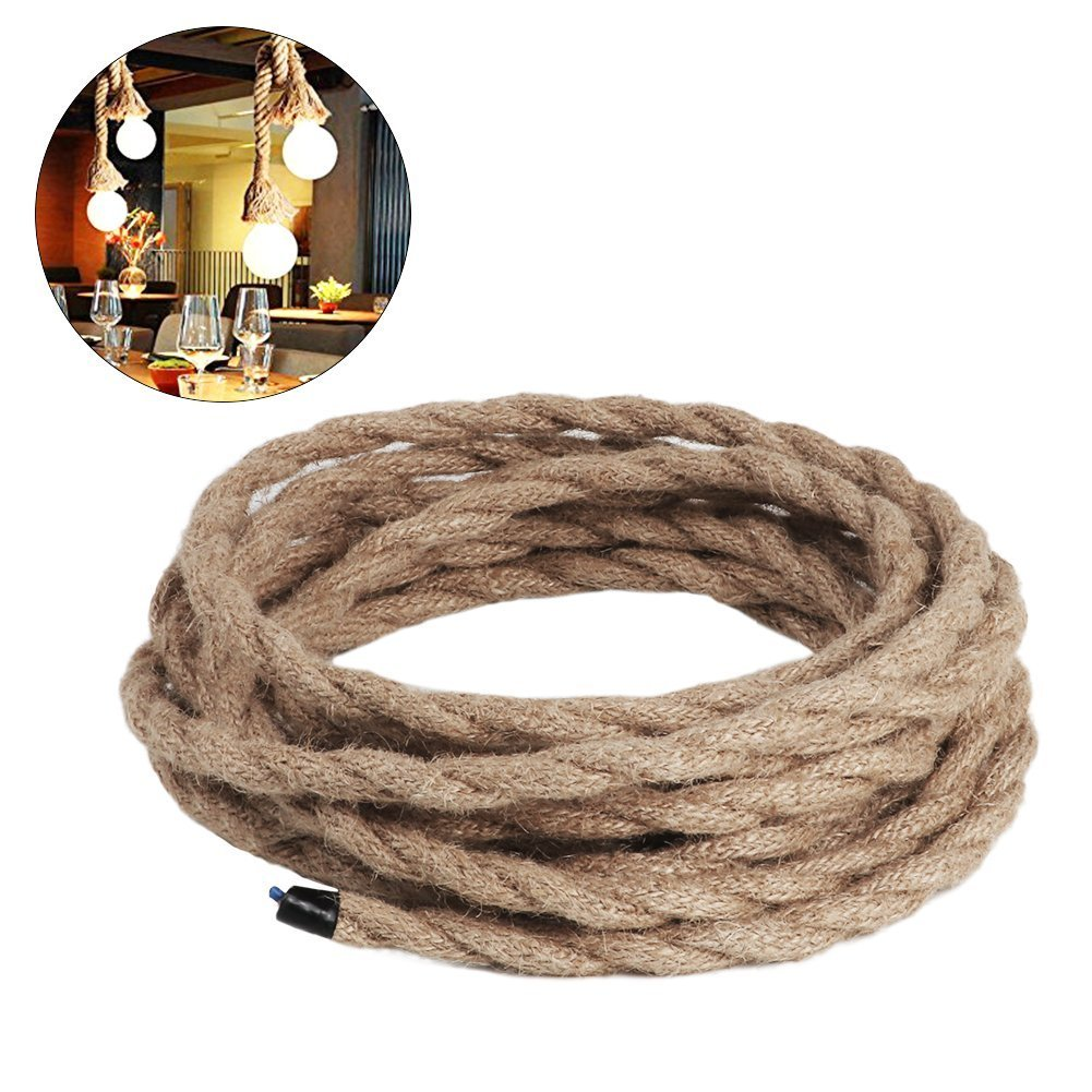 Vintage Rope Wire Twisted Cable Retro Braided (2 core/3 core) for DIY LED Pendant Lamp Table Floor Wall Light (2cores)