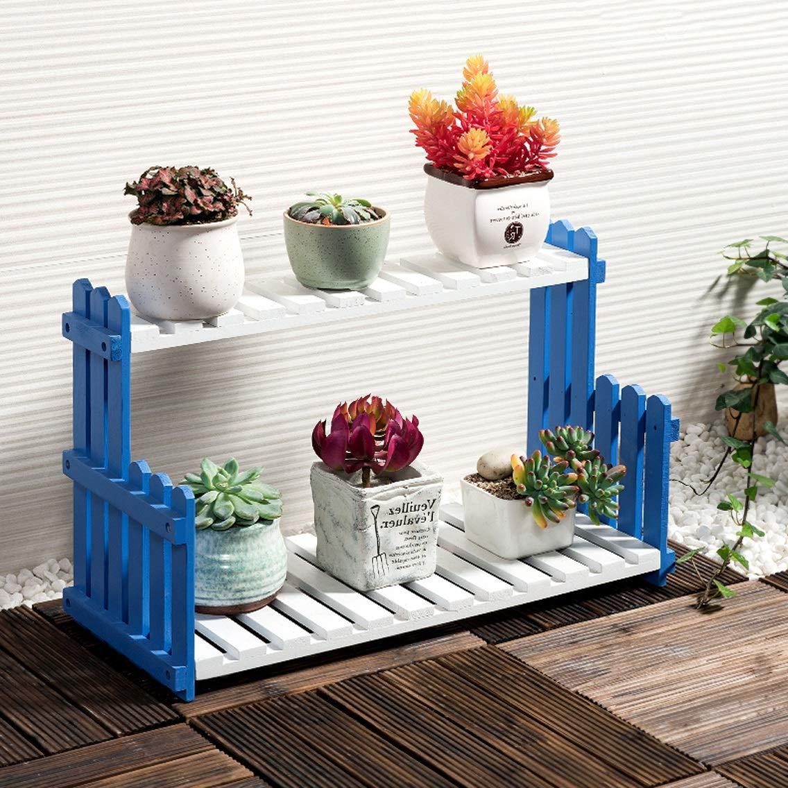 HZB Solid Wood Flower Rack Living Room Balcony Floor Multi Storey Flower Pot Shelf