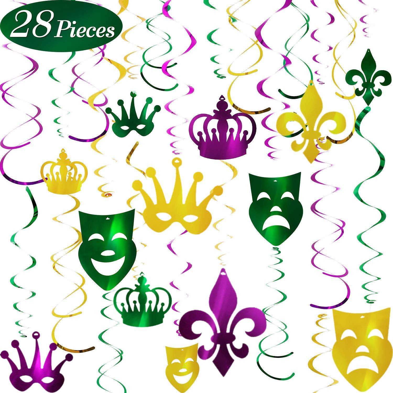 30Pack Konsait Mardi Gras Hanging Swirl Decoration Mardi Gras Swirls Carnival Birthday Party Spirals Home Ceiling Wall Decor for Mexican Fiesta Crown Face Garland Favor Supplies Decor