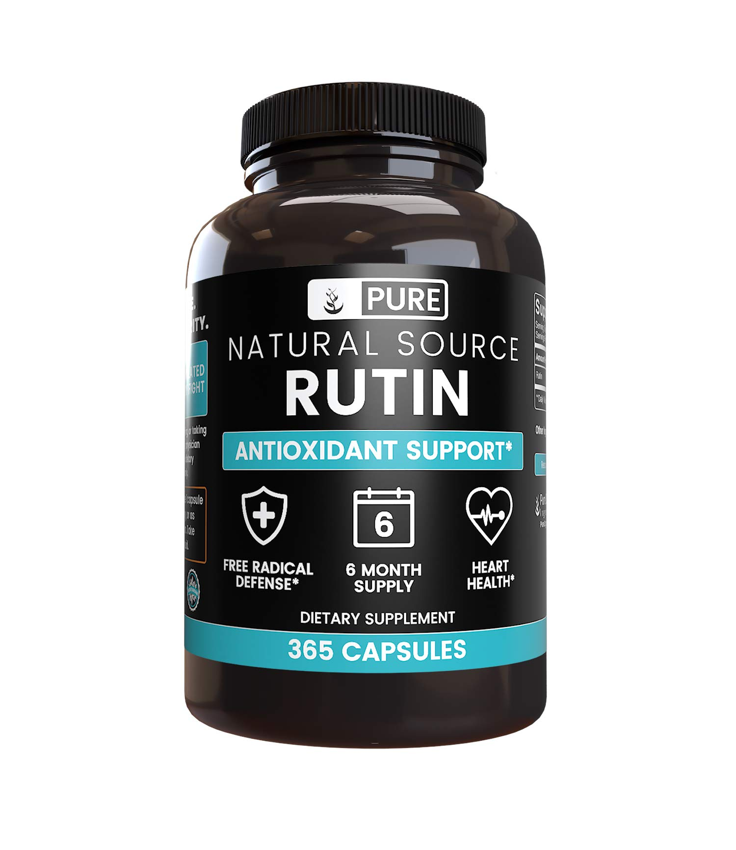 100% Pure Rutin, 6-Month Supply, 365 Capsules, No Stearates or Rice Fillers, Made in The USA, Potent, Undiluted and Naturally-Sourced Rutin Bioflavonoid