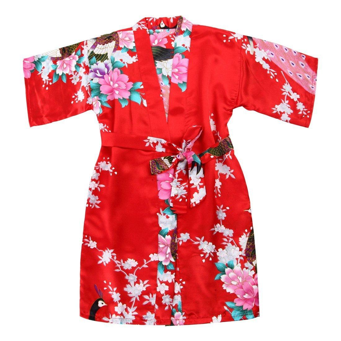 Toddler Girls' Satin Kimono Robe Peacock Blossoms Bathrobes Weeding Gown Spa Wedding Birthday Ages 1-12