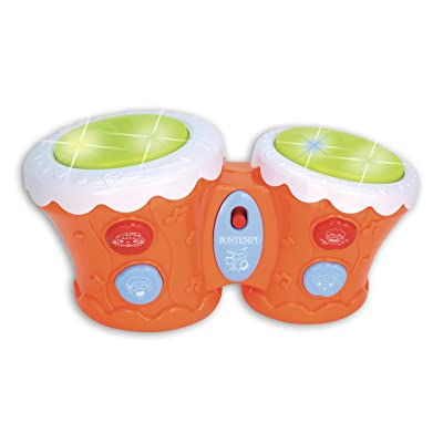 Electronic Bongo Drums with Light Show, 5 Pre-Recorded Melodies, 4 Sound Effects, 3 Drum Rhythms, for Ages 18 Months and Older: Toys & Games