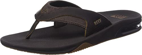 Men/'s Brown Dark Brown Reef Leather Fanning Sandal 11