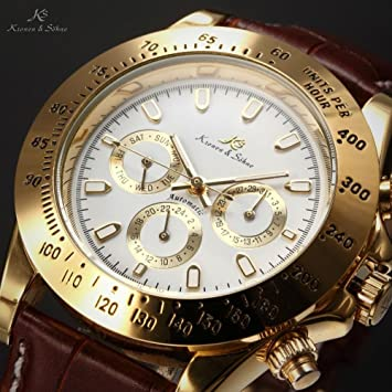 LNTGO Ks Imperial Luxury Men Wristwatch Day Date Display Male Clock Relojes De Marca Automatic Mechanical