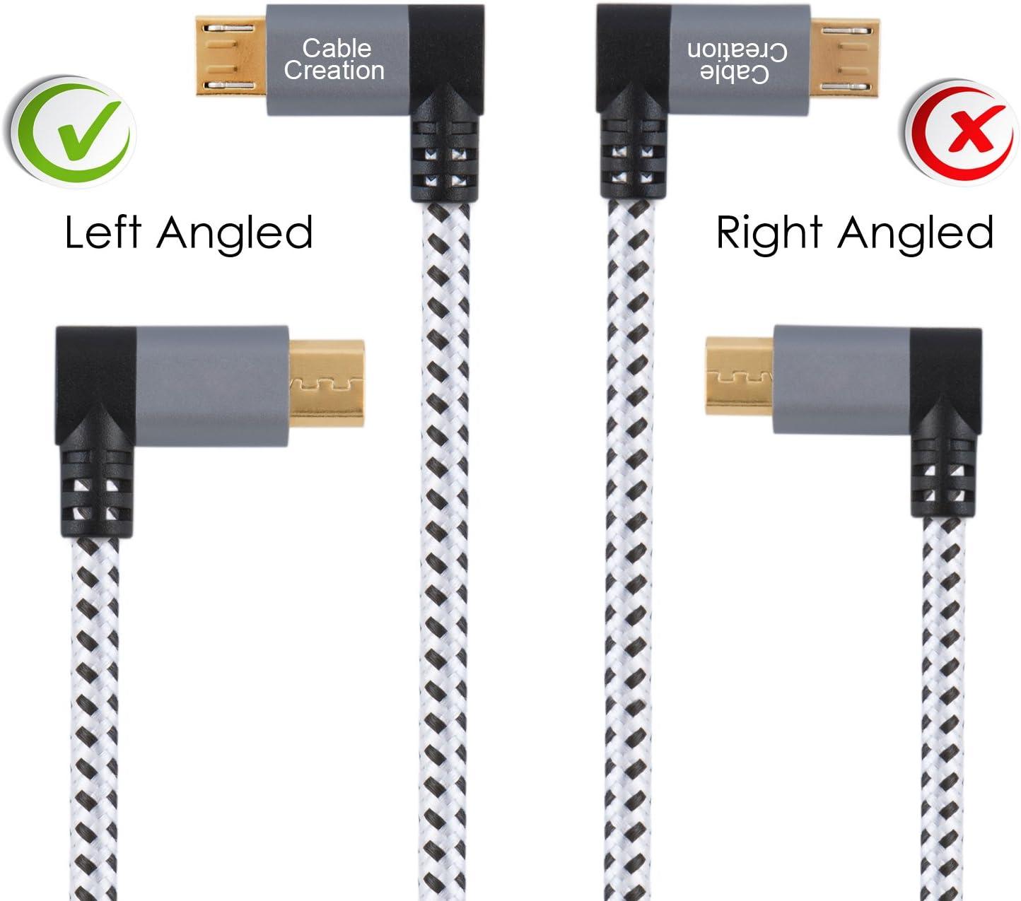 Cable Micro USB 2.0 con cable trenzado de ángulo recto de ...