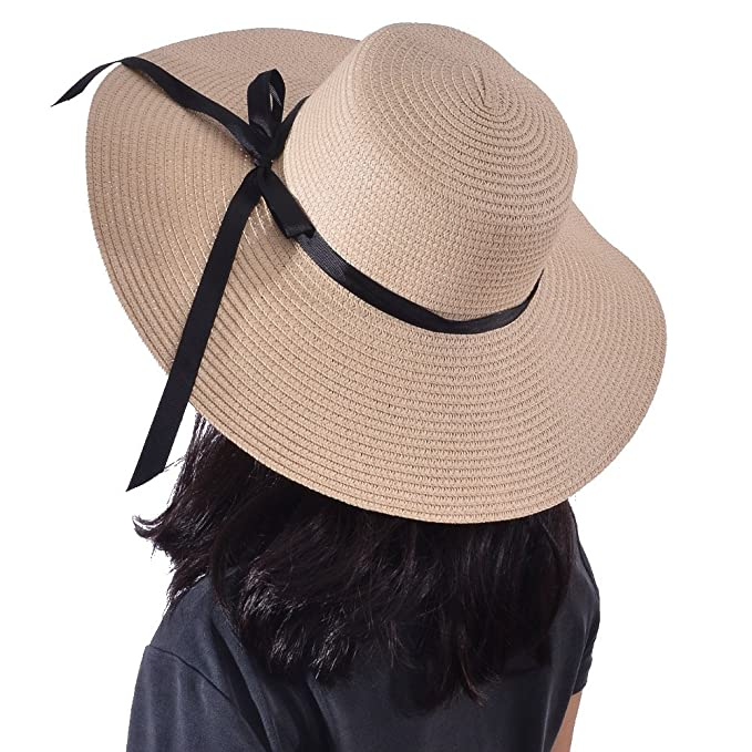 2d01f347d Yeeasy Womens Wide Brim Sun Hat Floppy Foldable Bowknot Straw Summer Beach  Hat (Beige)
