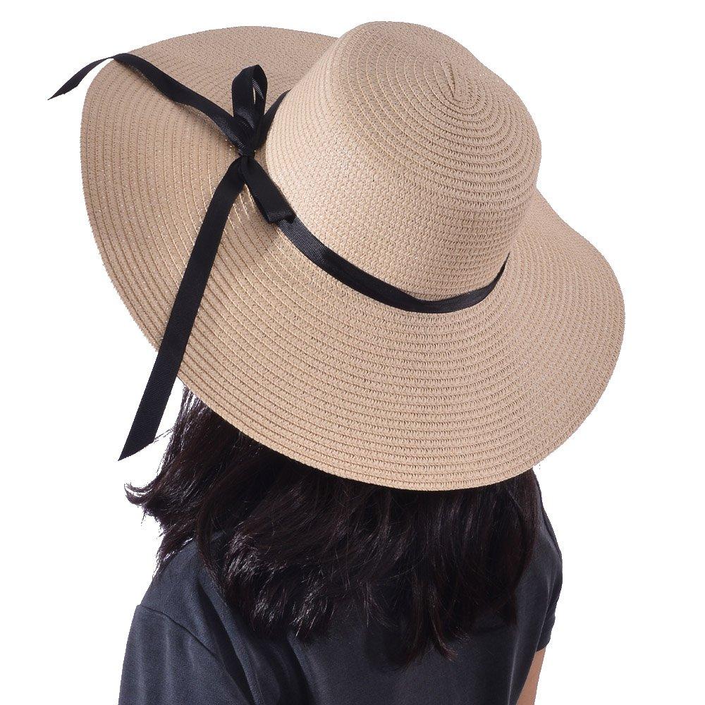 Yeeasy Womens Wide Brim Sun Hat Floppy Foldable Bowknot Straw Summer Beach Hat (Beige)