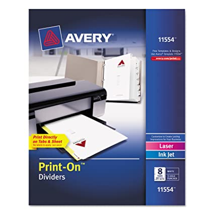 amazon com avery print on dividers white 8 tabs 25 sets 11554