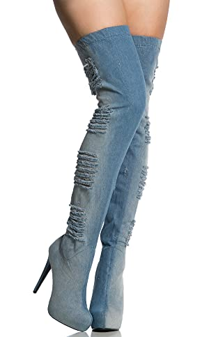 Karlywindow Women's Over The Knee Pointy Toe Washed Ripped Denim Thigh High Heels Stiletto Boot