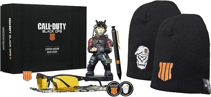 Todo para el streamer: Big box Call of Duty Black ops 4. Caja coleccionista con distintos productos de merchandising de la saga Black Ops 4 de Call of duty. Cuenta con licencia Oficial.