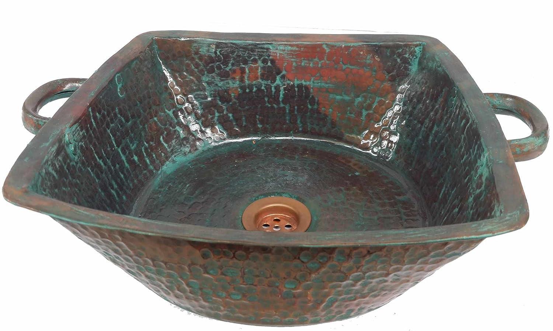 Egypt gift shops Antique Finish Verdigris Square Vessel Pure Natural Copper Bath Washbasin Prep Handles Sink House Bath Room Decoration Plans
