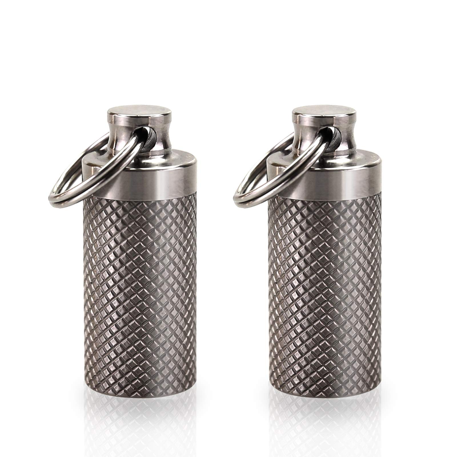 Tisky Keychain Pill Holder,Portable Titanium Waterproof Pill Box Container,Mini Pill Case for Outdoor Travel Purse or Pocket(2PCS) by Tisky