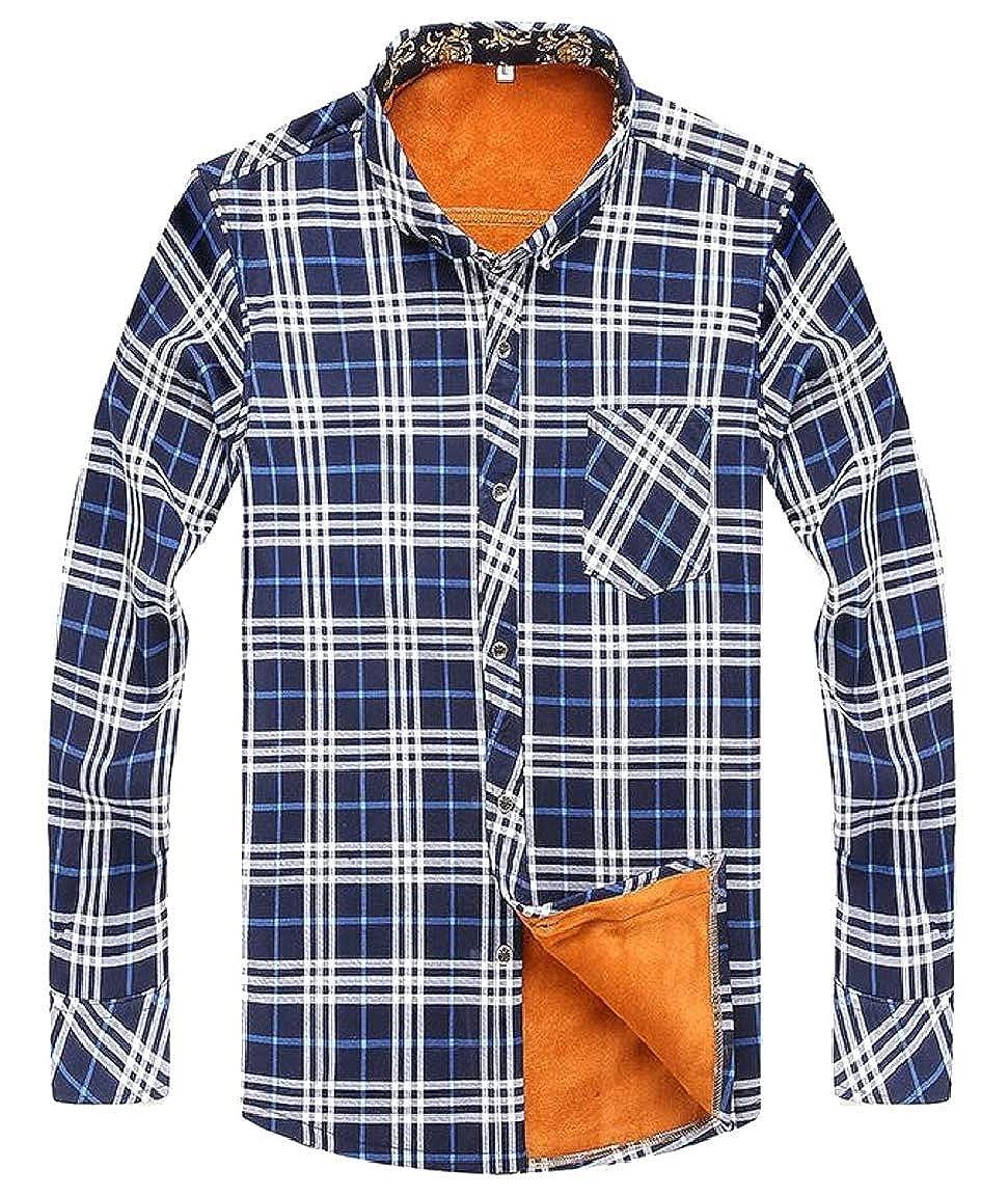HTOOHTOOH Mens Oversize Long Sleeve Fleece Autumn Warm Plaid Button Down Shirt