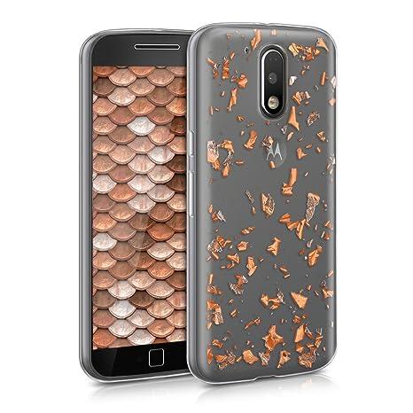 kwmobile Funda para Motorola Moto G4 / Moto G4 Plus - Carcasa para móvil de [TPU] con diseño de Purpurina - [Oro Rosa/Transparente]