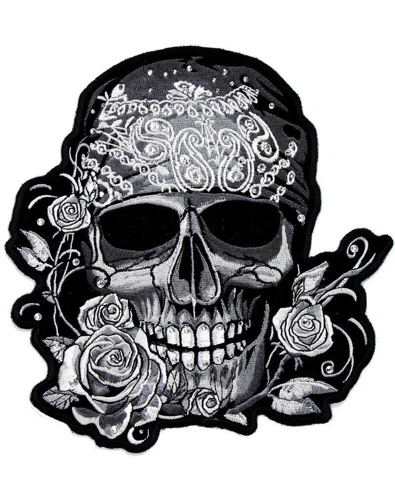 Toppa termoadesiva Skull Teschio Pirata strass piccola AMT CUSTOM