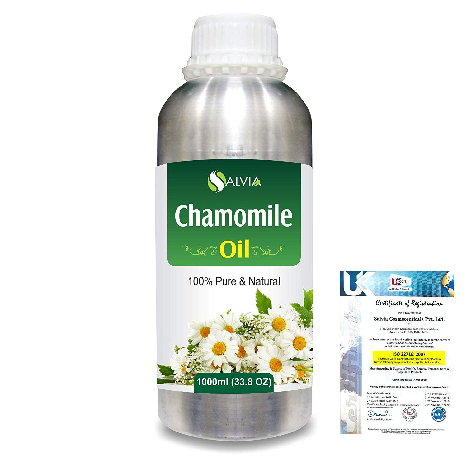 Chamomile (Matricaria Chamomile) Pure Natural Essential Aromatherapy Therapeutic Uncut Undiluted Oil 1000ml/33.8fl Express Shipping