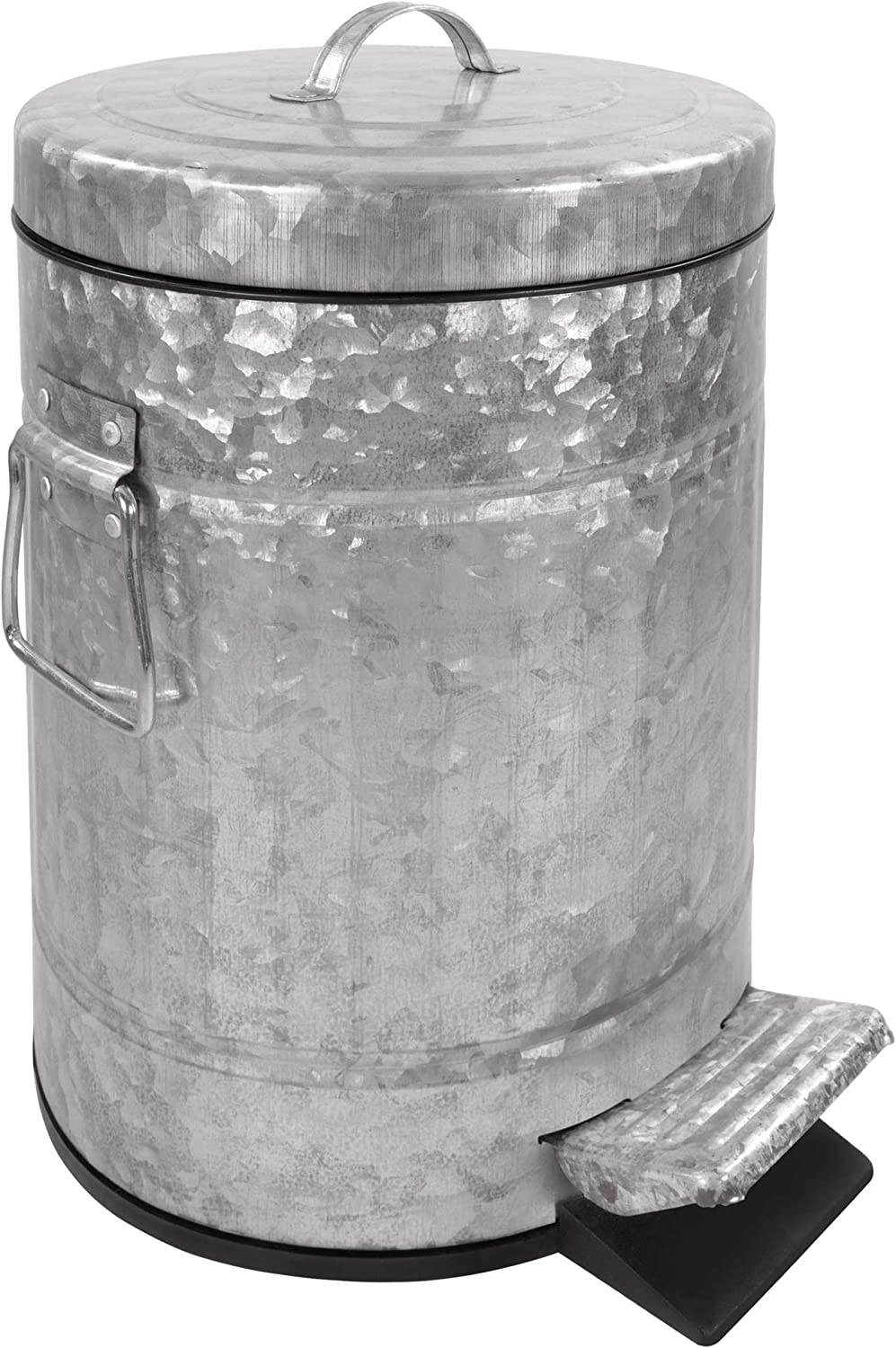 Autumn Alley Galvanized Pedal Waste Bin | Small 5L, 1.3 Gallon Trash Can | Adds Farmhouse Warmth | Perfect Size for Toilet Alcove