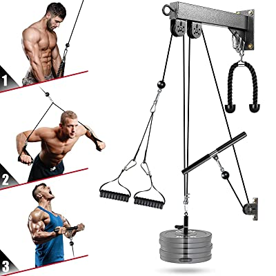 Gym Weights Pulley Cable System Machine Bicep Tricep Fitness Workout LAT Lifting