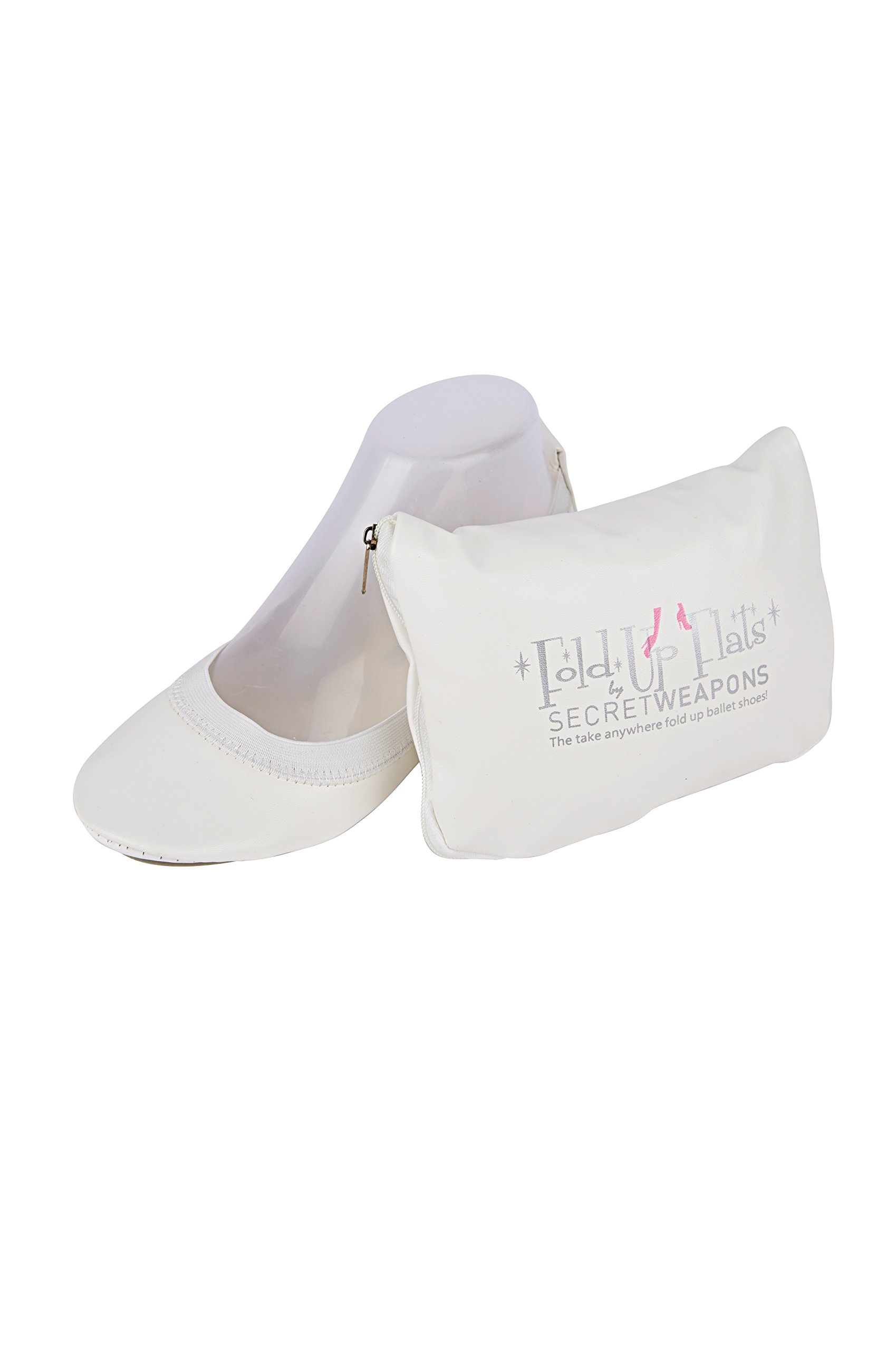 Fold up White Bride Ballet Flats - White Bridal Flats - White Foldable Ballet Flat Shoes with Portable Purse Pack Which Opens to Reveal a Handy Tote Bag! (Large (Size 9-10), White)