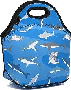 Neoprene Kids Lunch box Insulated Soft Bag Mini Cooler Thermal Meal Tote Kit for Boys, Girls,Men,Women,School,Work, Office by FlowFly,Shark