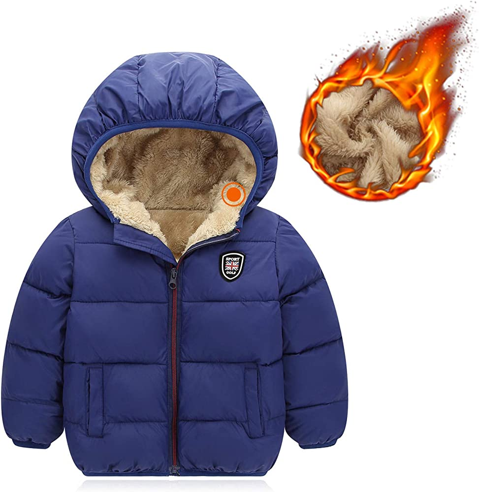 Kids Zip Up Windproof Hooded Ear Thick Hoodie Warm Coat Puffer Jacket Outwear