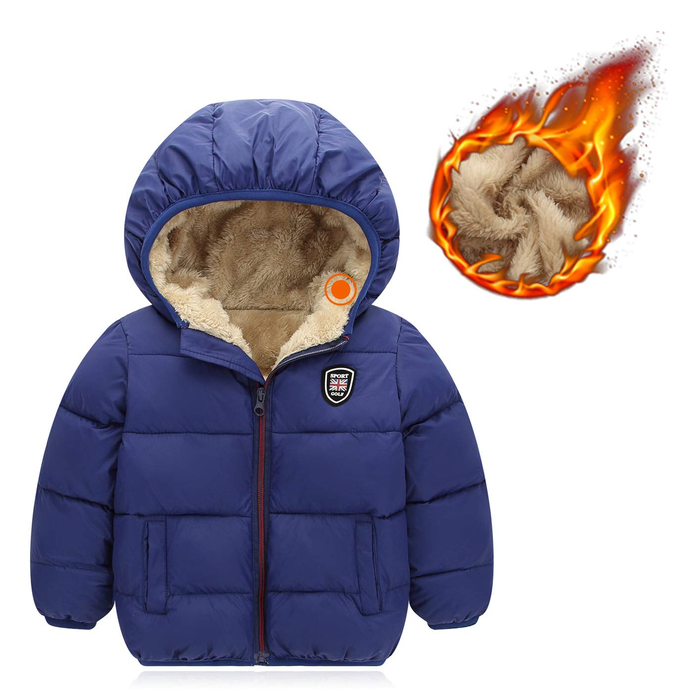 1f197b387 Happy Cherry Boys Girls Hooded Down Jacket Winter Warm Fleece Coat  Windproof Puffer 2T-7T: Amazon.ca: Clothing & Accessories