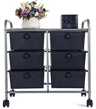 EaseOffice 6 Drawer Rolling Storage Cart With Heavy Duty Chrome Steel Frame  For Home,